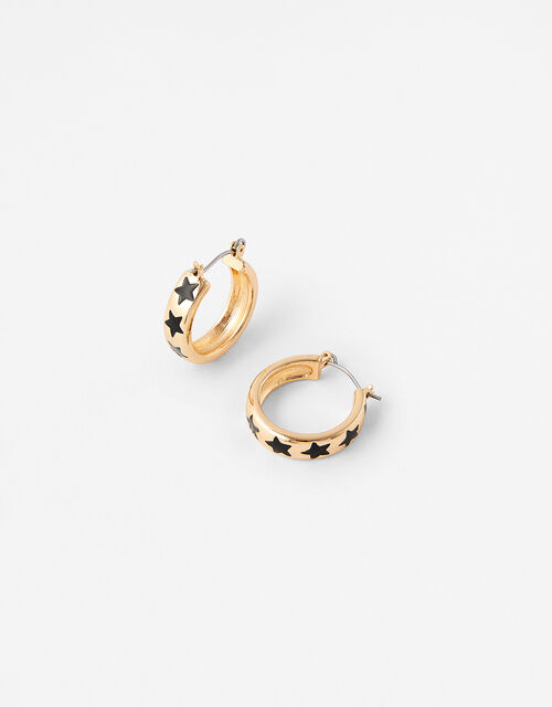 Enamel Star Hoop Earrings, , large