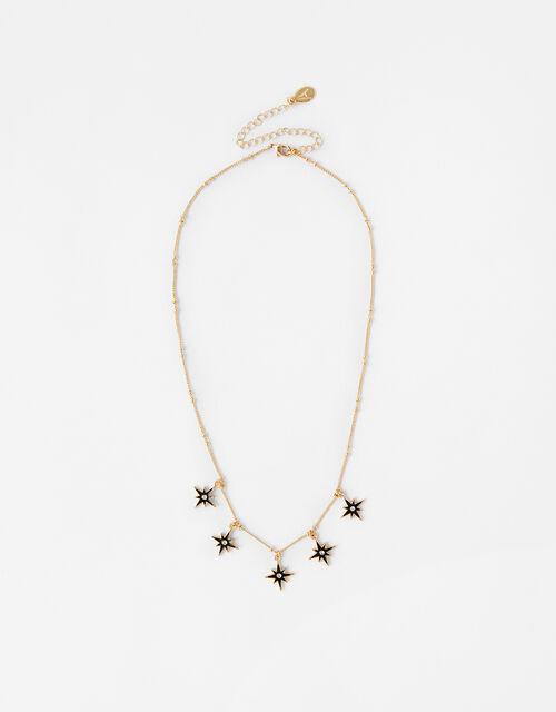 Enamel Star Droplets Necklace, , large