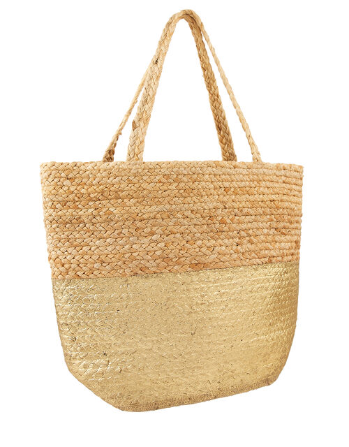 Sarah Woven Beach Tote Bag with Metallic Panel, , large