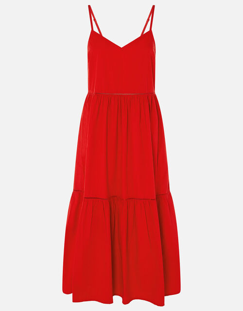 Poplin Tiered Maxi Dress, Red (RED), large
