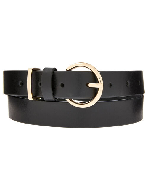 Round Buckle Leather Jeans Belt, Black (BLACK), large