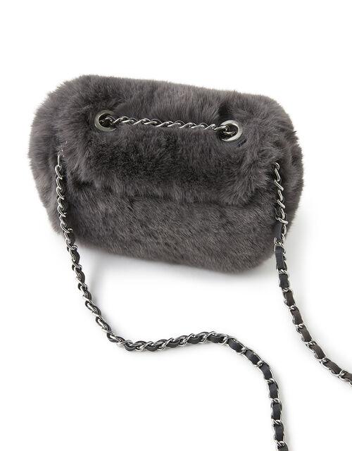 Mini Fluffy Cross-Body Bag, Grey (GREY), large