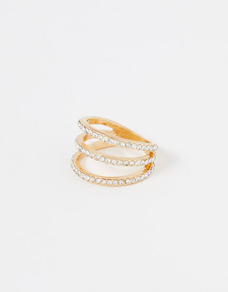 Pave Triple-Layer Ring White, White (CRYSTAL), large