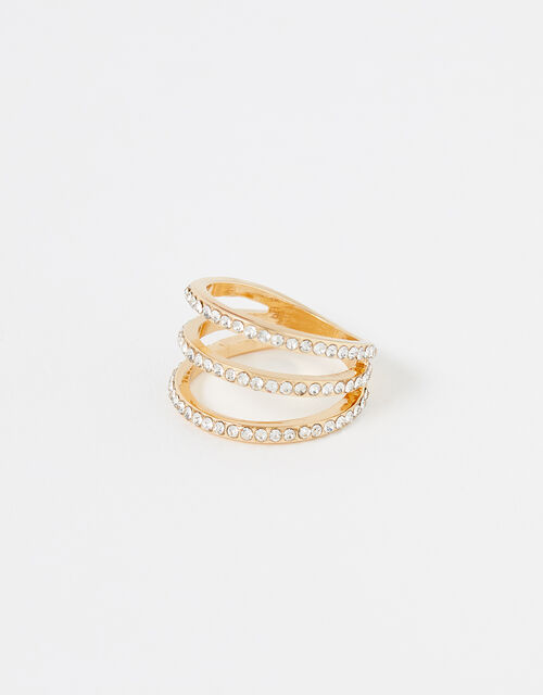 Pave Triple-Layer Ring, White (CRYSTAL), large