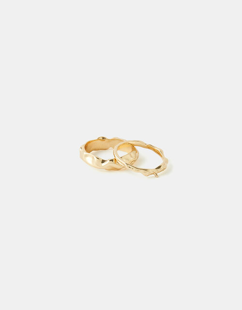 Chunky Molten Ring Set, Gold (GOLD), large