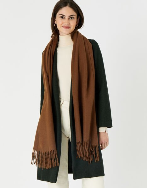 Holly Supersoft Blanket Scarf Brown, Brown (BROWN), large