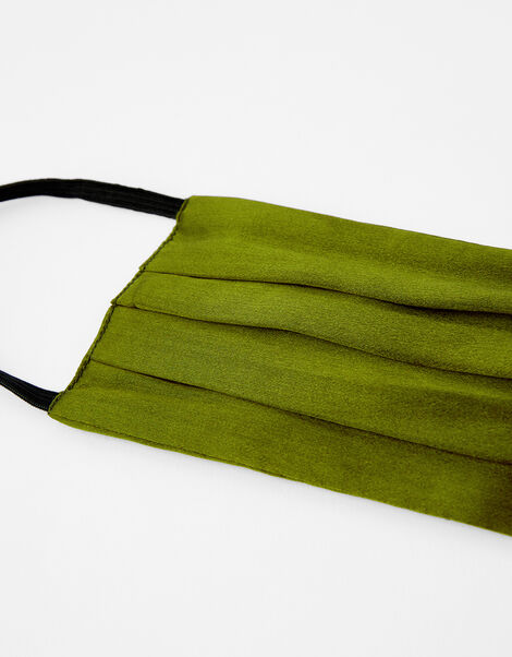 Pleated Face Covering in Pure Silk Green, Green (KHAKI), large