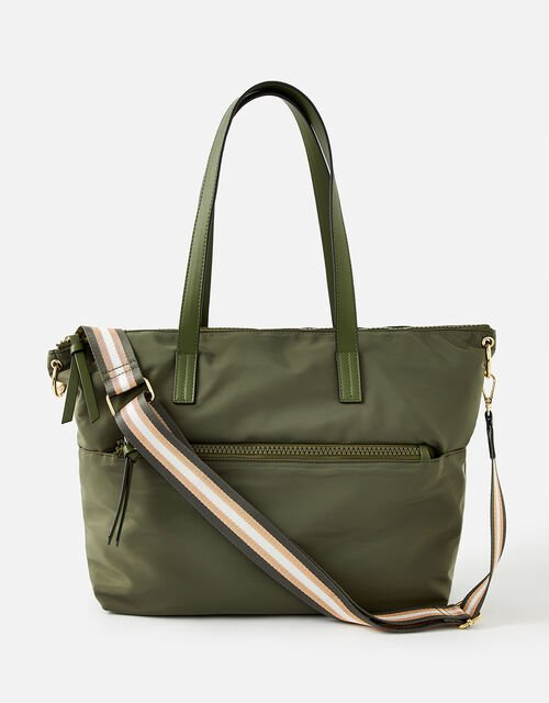 Nadine Nylon Tote Bag, Green (KHAKI), large