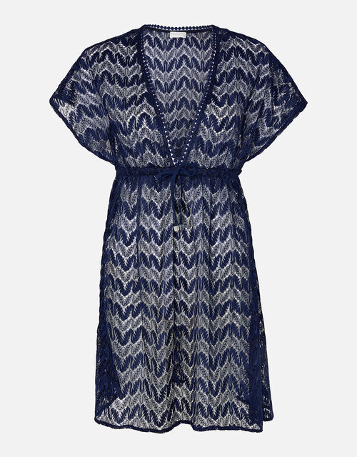 Lace Kaftan Dress, Blue (NAVY), large