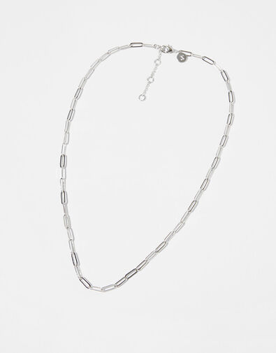 Platinum-Plated Paperclip Chain Necklace, , large