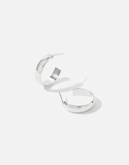 Platinum-Plated Hoop Earrings, , large