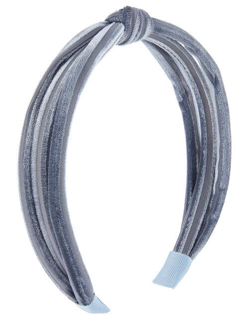 Slim Velvet Knot Headband, Blue (BLUE), large