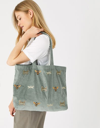 Insect Embroidered Cord Shopper Bag Green, Green (GREEN), large