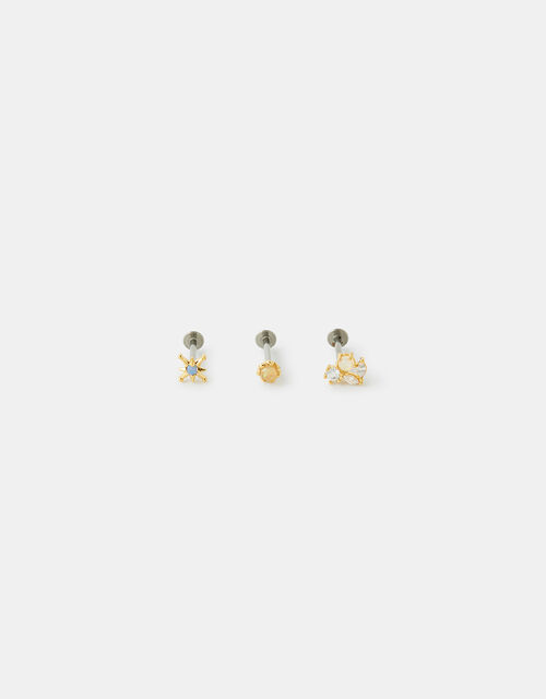 Iridescent Stone Flat-Back Stud Set, , large