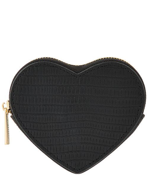 Textured Heart Coin Purse, Black (BLACK), large