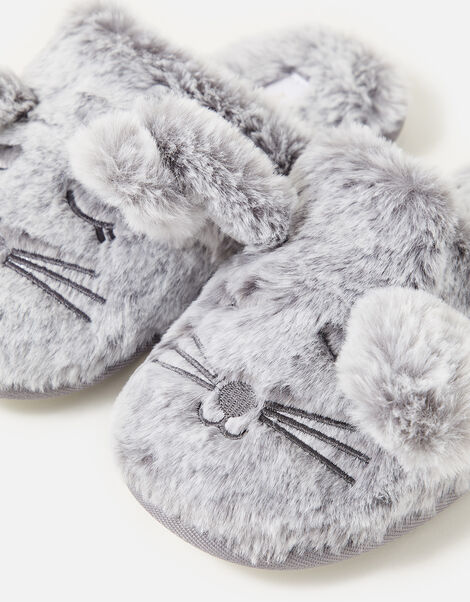 Bunny Mule Slippers Grey, Grey (GREY), large