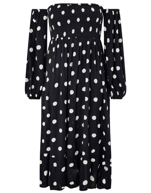 Polka-Dot Puff Sleeve Midi Dress, Black (BLACK/WHITE), large