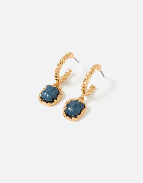 Country Retreat Twist Stone Earrings  Blue, Blue (NAVY), large