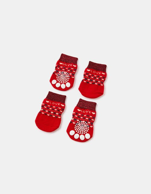 Love Christmas Fair Isle Dog Booties, Red (RED), large