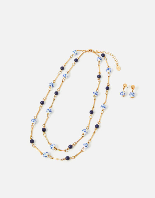 Country Retreat Bead Necklace and Earring Set, , large