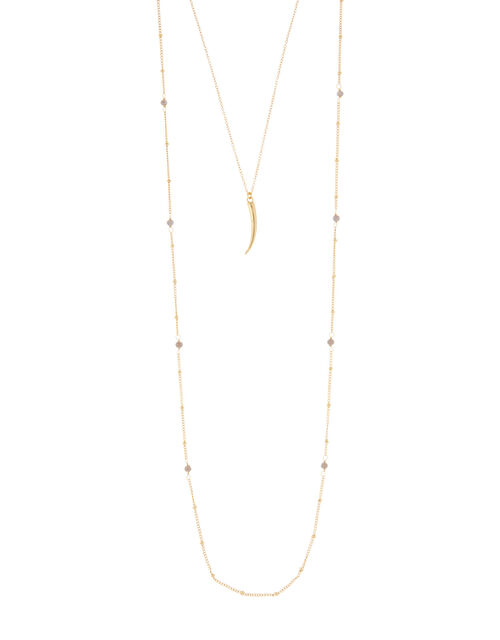 Gold-Plated Double-Chain Long Necklace, , large