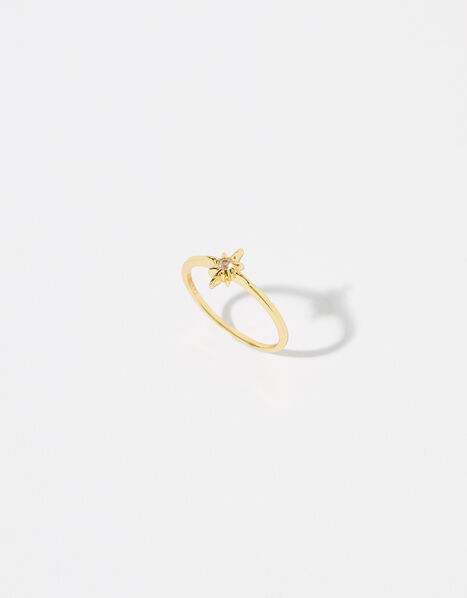 Gold Vermeil White Topaz Star Ring Gold, Gold (GOLD), large