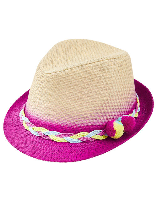 Ombre Pom-Pom Trilby Hat, Natural (NATURAL), large