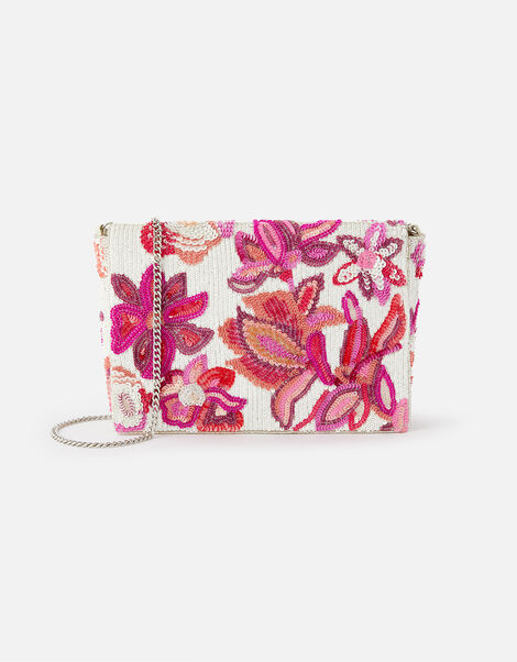 Floral Sequin Clutch Bag , , large