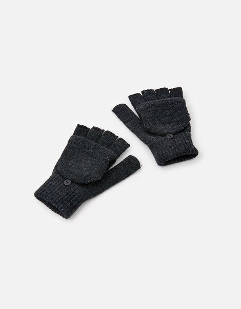 Plain Capped Gloves Grey, Grey (GREY), large