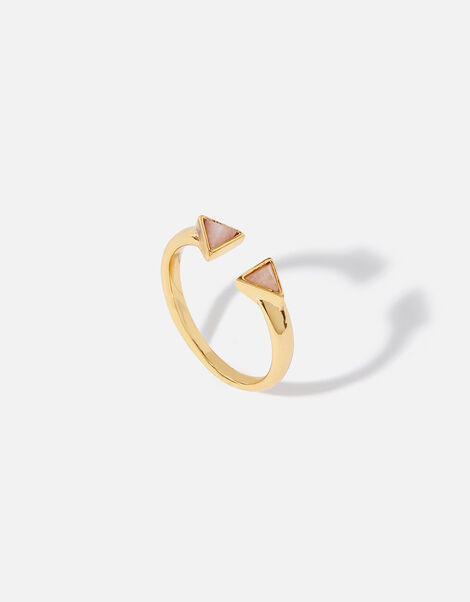 Healing Stones Rose Quartz Pyramid Ring Gold, Gold (GOLD), large