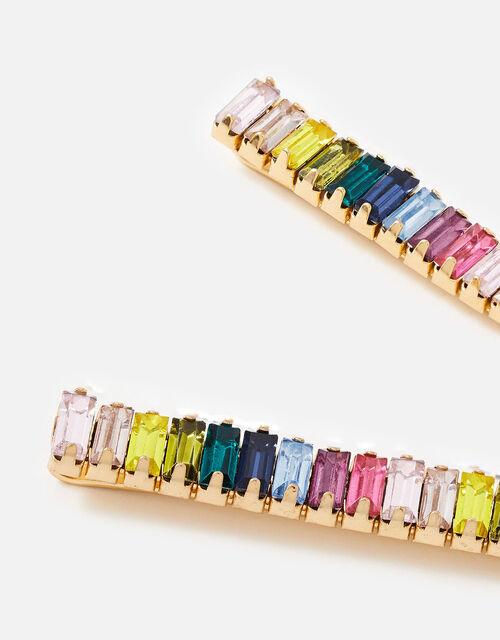 Rainbow Baguette Gem Hair Slides, , large