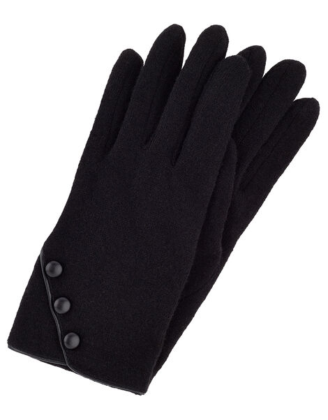 Button Gloves in Wool Blend Black, Black (BLACK), large