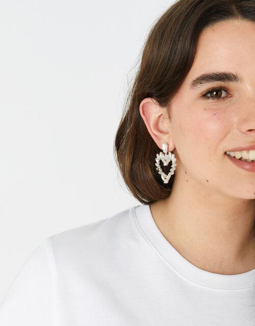 Berry Blush Heart Baguette Earrings, , large