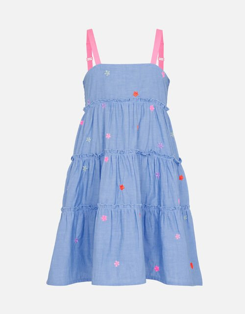 Floral Embroidered Chambray Dress, Blue (BLUE), large