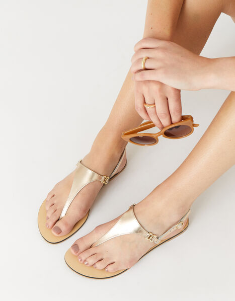 Luxe Leather Charm Sandals  Gold, Gold (GOLD), large