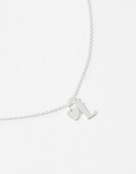 Sterling Silver Heart Initial Necklace - L, , large