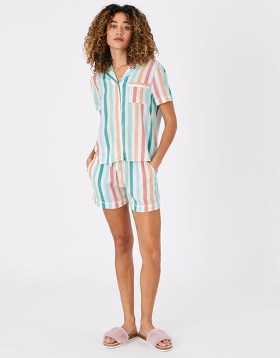 Stripe Shirt and Shorts PJ Set Multi, Multi (BRIGHTS-MULTI), large