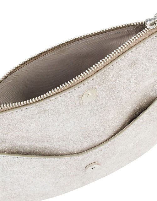 Leather Foldover Pouch, Silver (SILVER), large