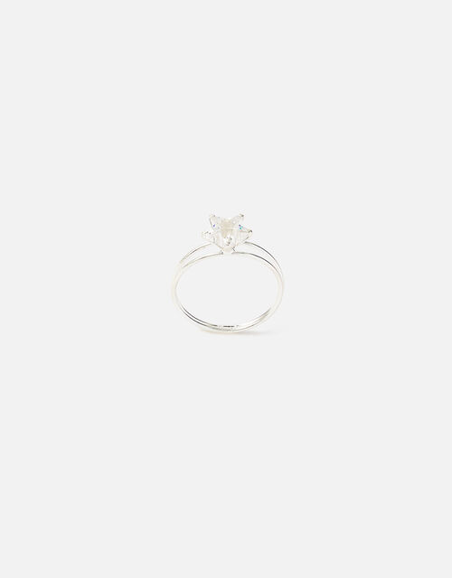 Sterling Silver Cubic Zirconia Star Ring, Silver (ST SILVER), large