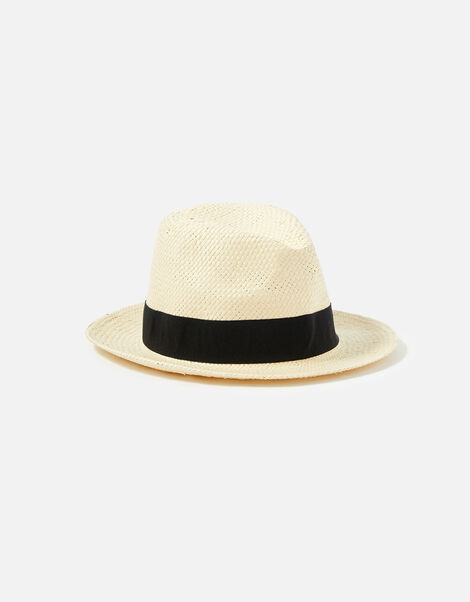 Straw Panama Hat with Wide Trim Natural, Natural (NATURAL), large