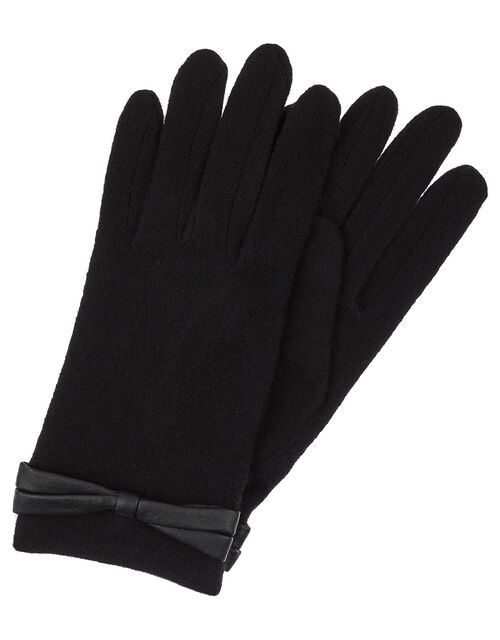 Bow Cuff Gloves in Wool Blend, Black, large