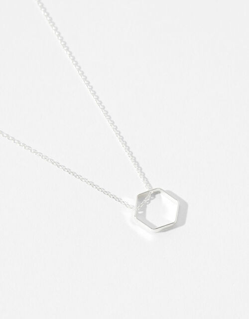 Sterling Silver Hexagon Necklace, , large