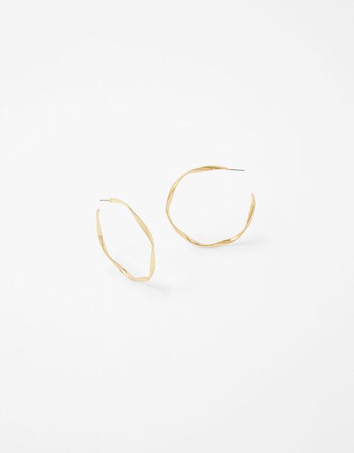 Large Twist Hoop Earrings, , large