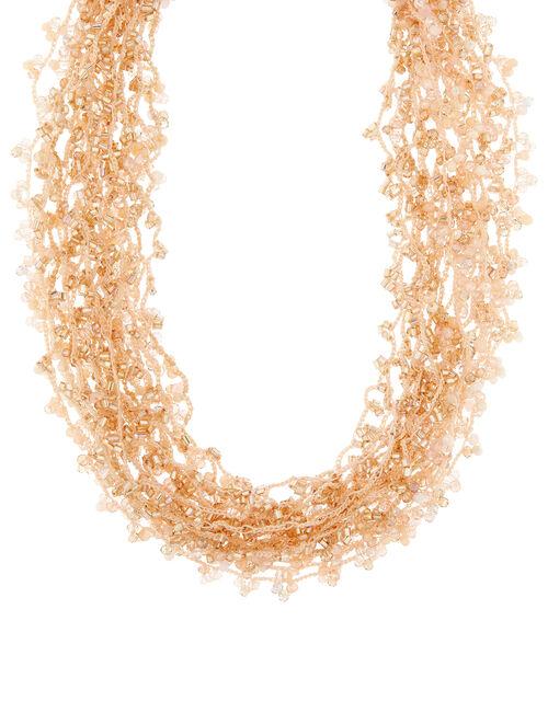 Metallic Beaded Cord Necklace, , large