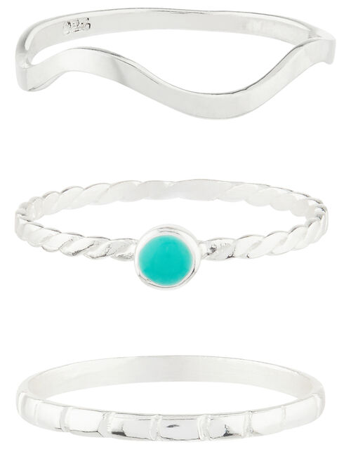 Sterling Silver Turquoise Stacking Ring Set, Blue (TURQUOISE), large