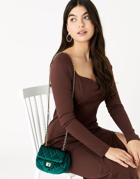 Lucy Velvet Cross-Body Bag  Green, Green (GREEN), large