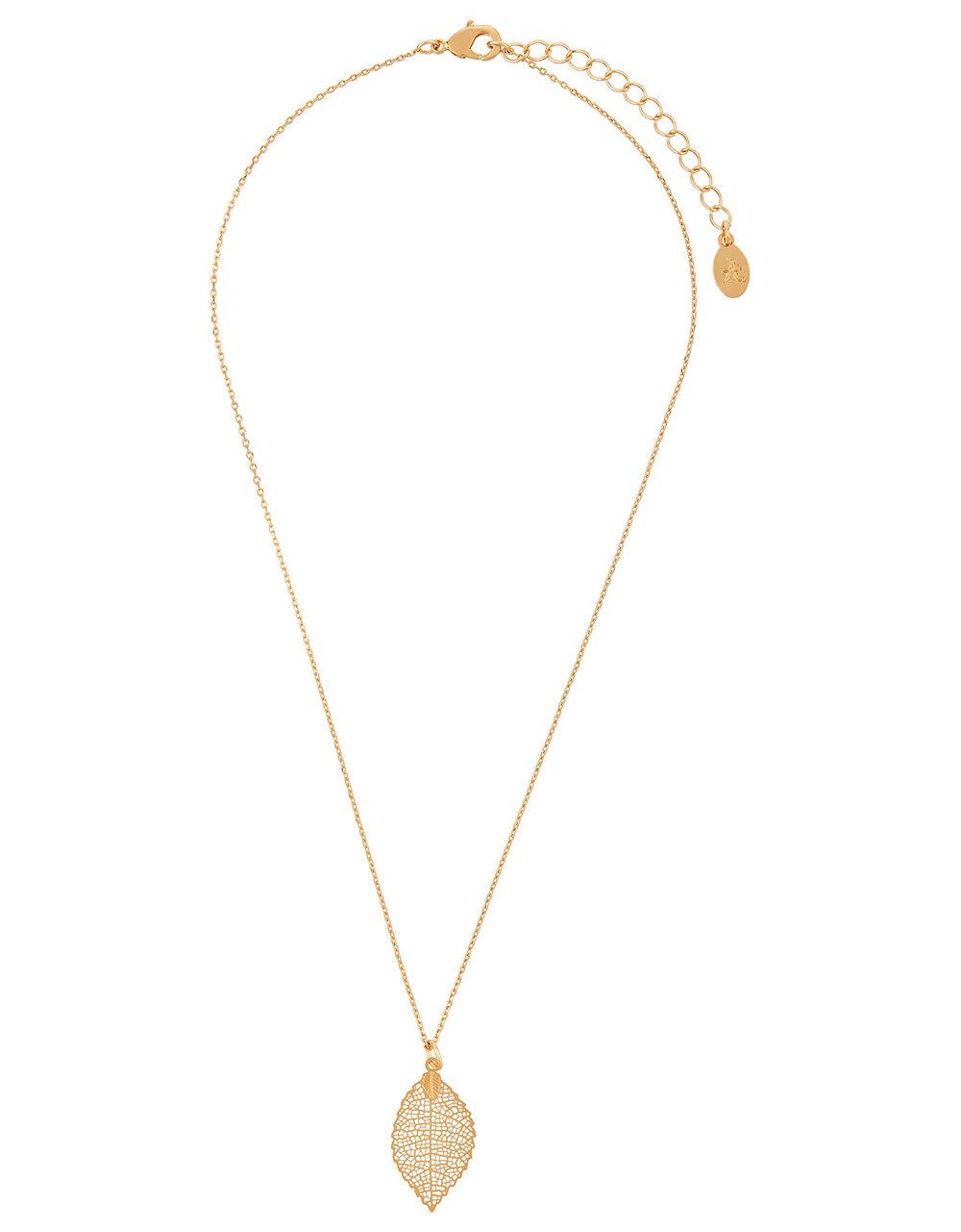 Filigree Leaf Pendant Necklace, , large