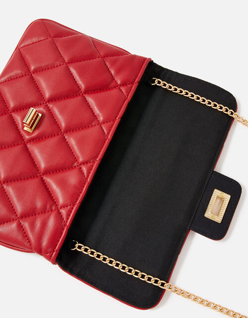 Quilted Clutch Bag, Red (RED), large