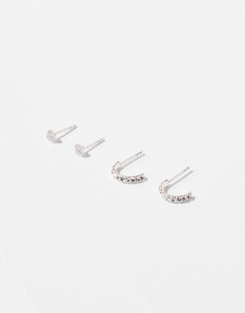 Sterling Silver Sparkle Earring Set, , large