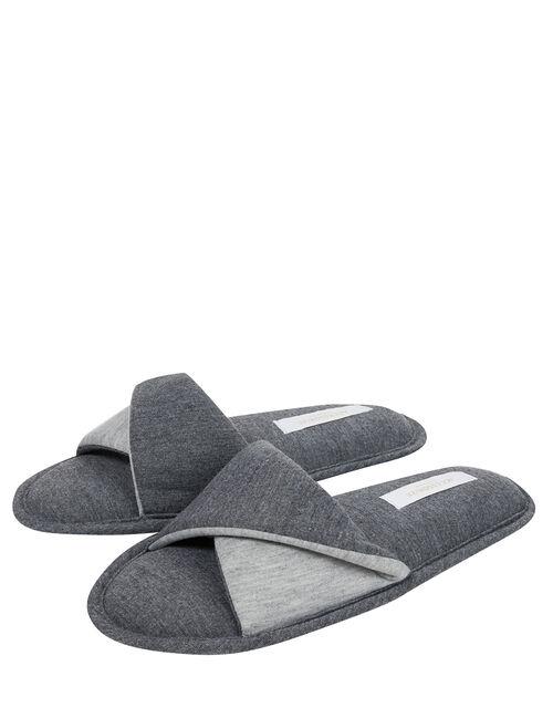 Take Me Away Jersey Mule Slippers, Grey (GREY), large
